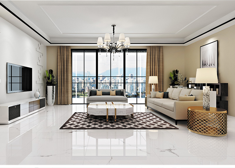 大理石瓷砖鱼肚白ipgs90014客厅空间效果图1