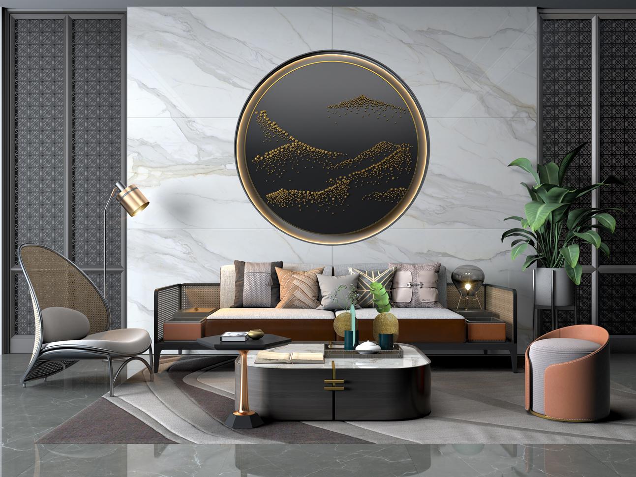 大理石瓷砖冰川白IPGS1890082客厅空间效果图2